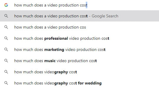 A query in Google about video production costs